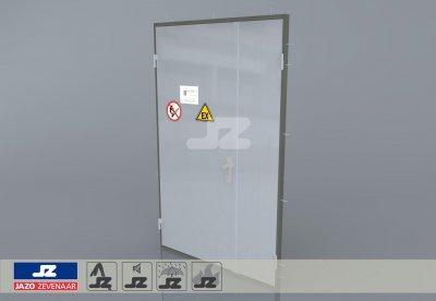Alu. P-kozijn+dubbele deur Ahorn laag