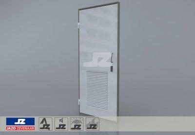 Alu. P-kozijn+enkele deur+onder rooster Joulz/Stedin