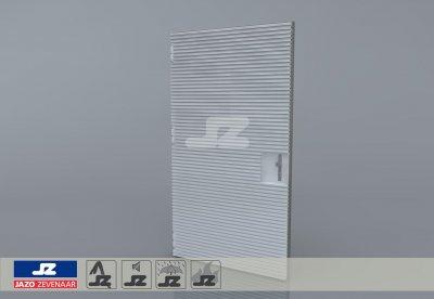 Alu. P-kozijn+enkele deur+HS-42 opbouwrst