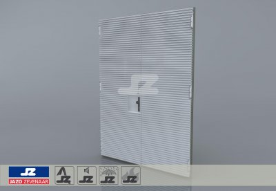 Alu. P-kozijn+dubbele deur+HS-27 opbouwrst