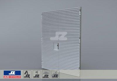 Alu. P-kozijn+dubbele deur+HS-50 opbouwrst