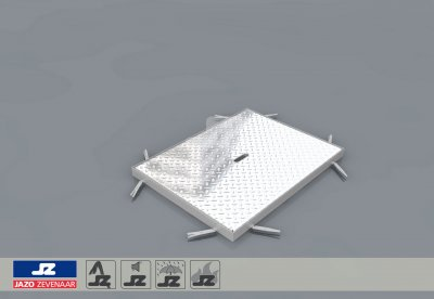 RVS hoekomranding met aluminium luik lxb 850x650