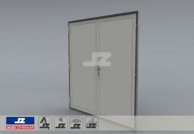 Staal CF-kozijn+dubbele deur EW60 EN1634-1 WK3 Ahorn