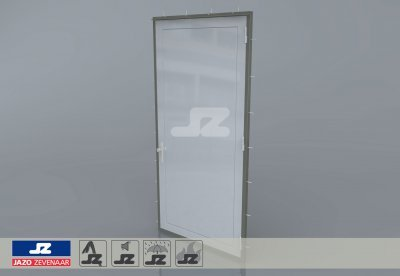 Staal CF-kozijn+enkele deur EW120 EN1634-1